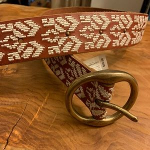 Lucky brand NWT leather embroidered belt XS